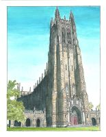 Duke Chapel -  Watercolor by jbowersstudio