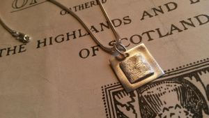 Silver handmade square fingerprint necklace by aingeal-uisge