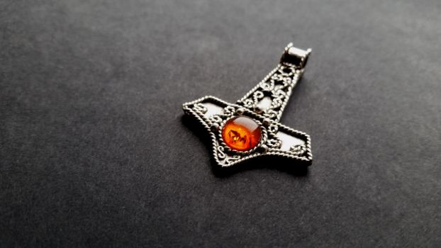 Silver Thor's Hammer with amber by GradSilver