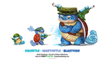 Daily 1323. Squirtle/ Wartortle / Blastoise by Cryptid-Creations