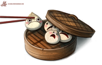 Daily Paint #1050. Sacrificial Dumpling by Cryptid-Creations