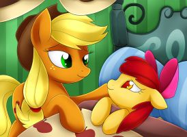 Apple Bloom and Applejack by Scarlet-Spectrum