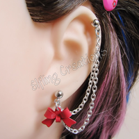 Red and Silver Bow Chain Earring by merigreenleaf