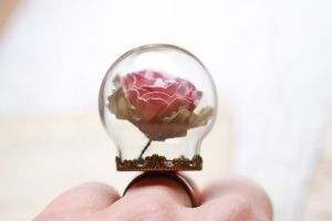 Beauty and the Beast, paper rose terrarium ring by LittleRubyRobin