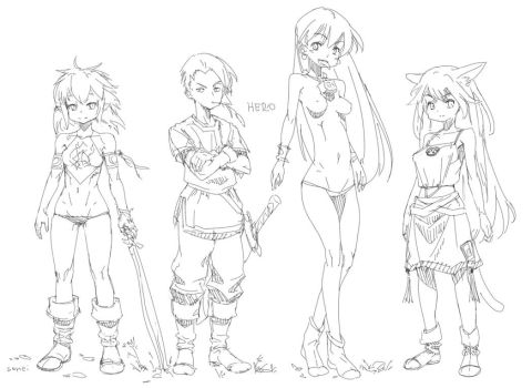 Characters line sketch by iSohei
