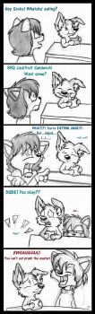 BBQ Jackfruit Sandwich (rough sketchy comic) by SocksTheMutt