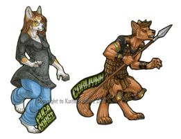 Puca Corgi and Corwynn badges by KatieHofgard