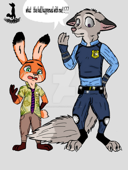 nick wilde and judy hopps  switch species by troodont