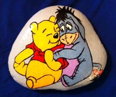 Winnie the Pooh and Eyore on Stone by AmandaFerguson070707