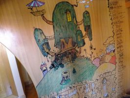 adventure time treehouse on wall by pantofliaras