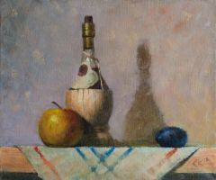 Still life with wine, apple and plum by SergeiKrylov
