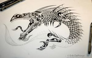 Almost finished the tattoo dragon! by ErikDePrince