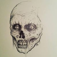 zombie sketch (ballpoint pen) by Abaddondesign