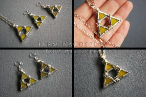 Glass Triforce Necklace and Earring Set by TerminaCosplay