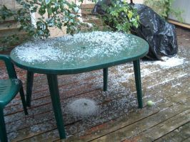 Hailstorm aftermath by Ripplin