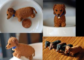 Mini Crochet Series - Dachshund by kiaragurl
