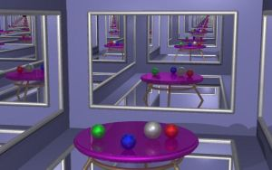 Raytraced infinity mirror room by mcsoftware