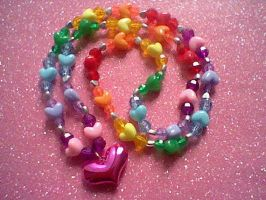 Rainbow Heart Necklace by LindseyDunno