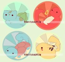 pokemon starters buttons by resubee
