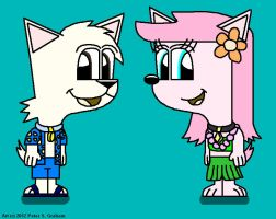 Danny and Lily in Hawaiian outfits by CherryFungi