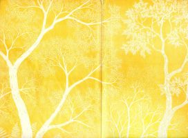 Paper texture 'yellow tree' - double page by mercurycode