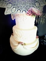 White Wedding Cake by kreativekortney