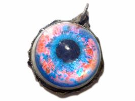 Red and Blue tin eye pendant by glo0bule