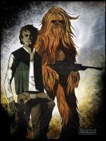 Solo and the Wookie by CartoonCaveman