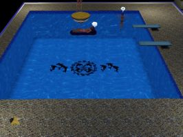 SIms 3 marluxia lounging in pool by TheeKozakura