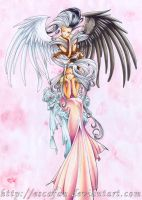 Urd and angel by escafan