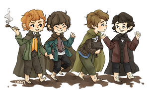 LoTR: The Hobbits by soggy-cats