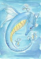 Kingdra and Horsea by theCoffeeDragon