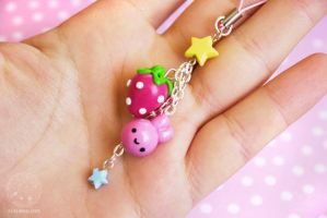 Strawberry Bunny Cellhpone Charm by kukishop
