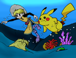 Yellow and Pikachu Under the Sea -Color Commission by BlueHedgehog25