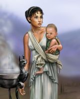 Greek woman and child by dashinvaine
