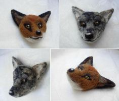 Needle felted heads by Halwen