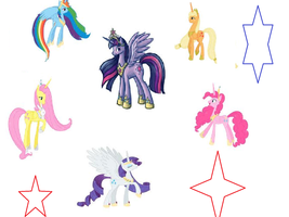 The mane six as alicorns by flyingcheese143