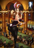 Playboy Bunny Giantess in the Casino by giantess-fan-comics