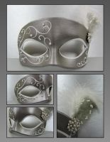 Silver and White masquerade by maskedzone