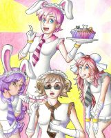 Gaia - Rydia and the Maids by SunnieF