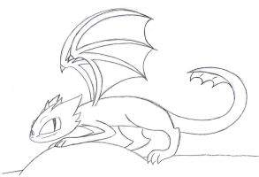 Toothless Lineart by MiharuWatanabe