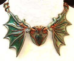 Patinaed Wings Necklace by thesagearts