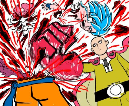 Saitama (One-Punch Man) vs Goku (Dragon Ball Z) by BlueStrikerBomber