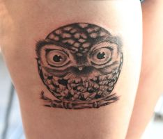 Owl tattoo by Angelique Grimm by Angelique-Grimm
