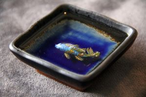 Dark Blue Square 3Cermaic Square Cobalt Blue Koi by spaceraptor