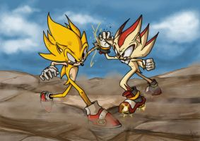 Super Sonic vs Super Shadow by SHADOWPRIME