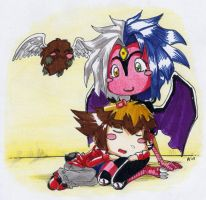 Chibi Yubel and Judai by G1d4n