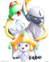 Absol,Kirlia and Jirachi by Vermeilbird