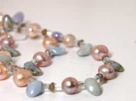 Labradorite porcelain and pearl necklace by dragonariaes