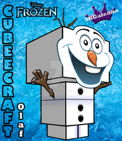 Cubeecraft 3D view of Olaf from Disney's Frozen by SKGaleana
